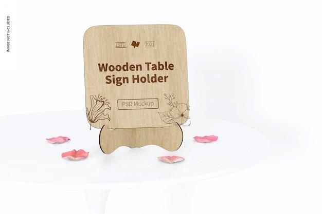 木製テーブルサインホルダーモックアップ