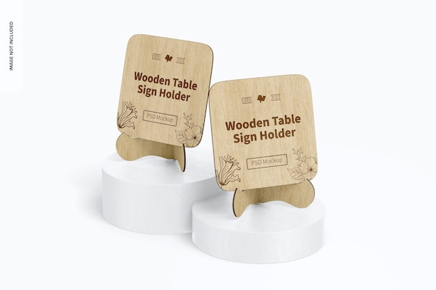 Wooden table sign holders mockup