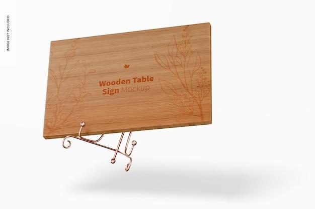 木製テーブルサインモックアップ、落下