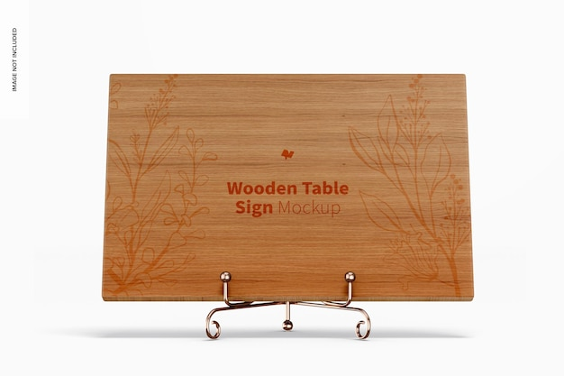 Wooden table sign mockup, front view