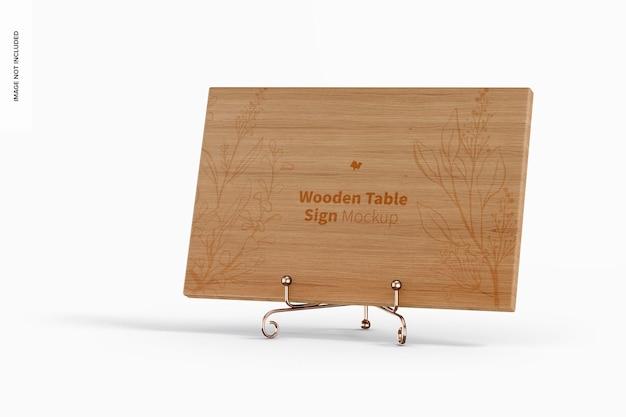 木製テーブルサインモックアップ