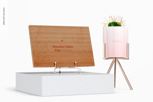 植木鉢のモックアップと木製のテーブルサイン