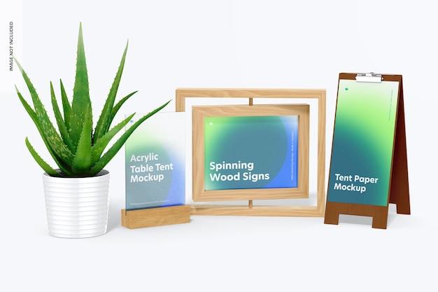 植木鉢のモックアップと木製のテーブルテントのシーン