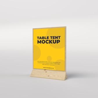 레스토랑 및 광고 측면보기를위한 나무 테이블 텐트 광장보기