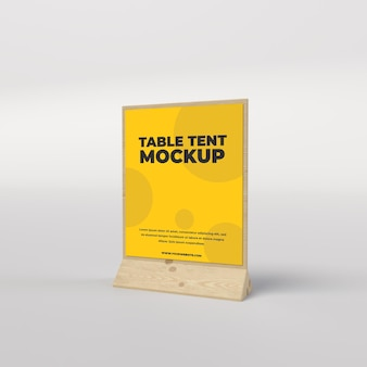 Wooden table tent square view for restaurant and advertisement side view