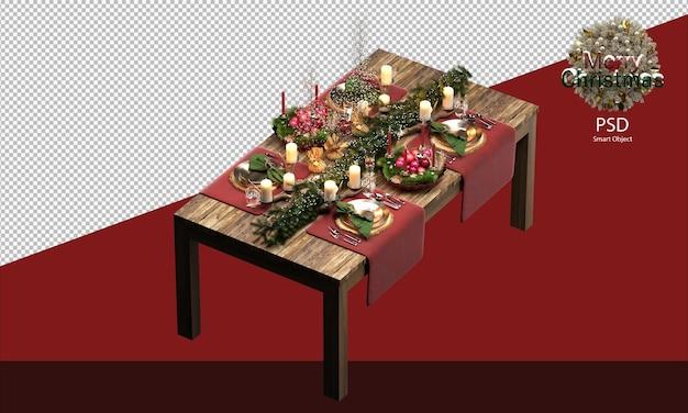 크리스마스 장식이 있는 나무 테이블 크리스마스 장식 클리핑 경로 아이소메트릭 뷰