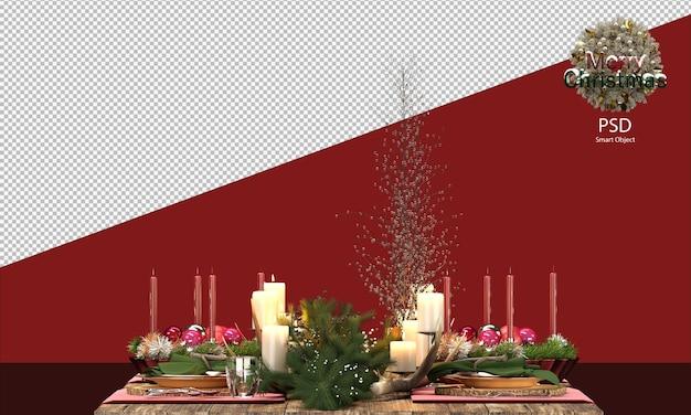 크리스마스 장식이 있는 나무 테이블 크리스마스 장식 클리핑 패스