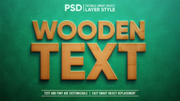Wooden text on green suede board editable layer style smart object text effect