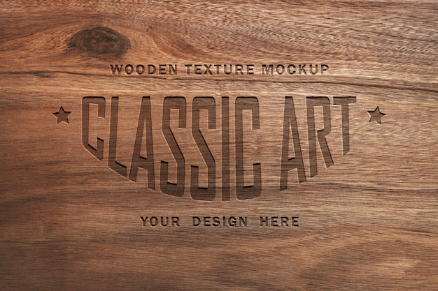 Wooden texture mockup and engraved wood text effect