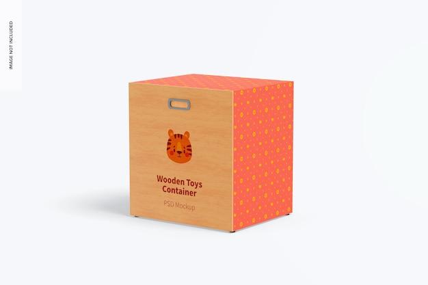 Деревянный контейнер для игрушек с колесами, мокап