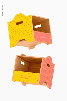 Wooden toys containers mockup, floating