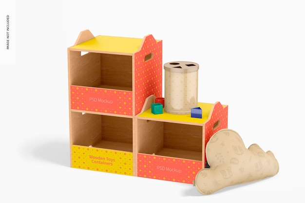 Wooden toys containers mockup, left view