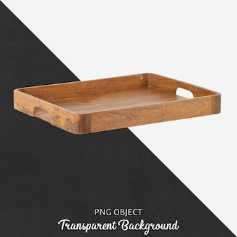 Wooden tray on transparent