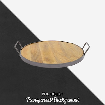 Wooden tray with handle on transparent background