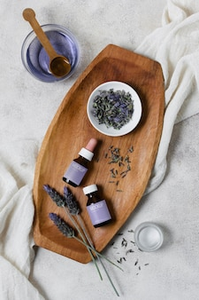 Wooden tray with lavender serum