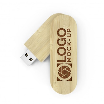 Wooden usb drive mockup for logo