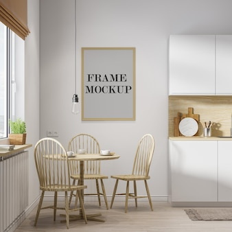 Wooden wall frame template in 3d rendering