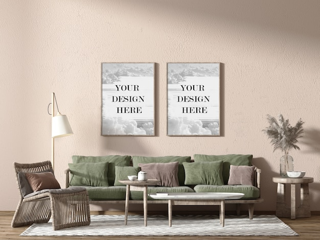 Wooden wall frames mockup in living room with comfortable furniture