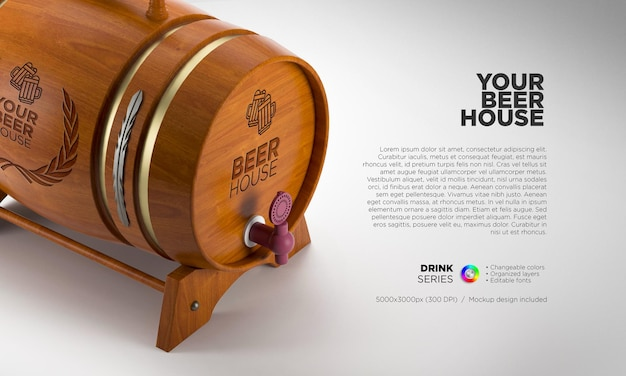 Wooden whiskey barrel mockup