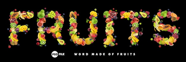 Word fruits made of different fruits and berries