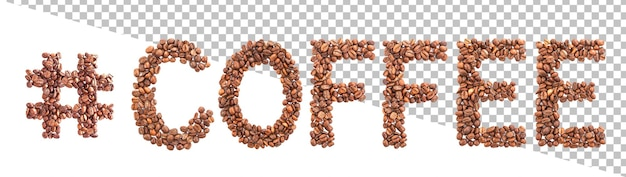Word made of coffee beans
