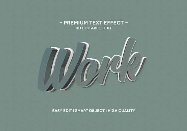 Work 3d text style effect template