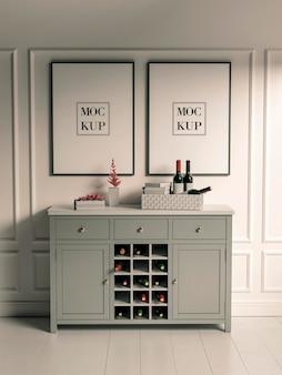 흰색 벽에 작업용 책상과 작은 액자 모형. 그림과 장식을 위한 도구로 가득 찬 테이블. 3d 렌더링