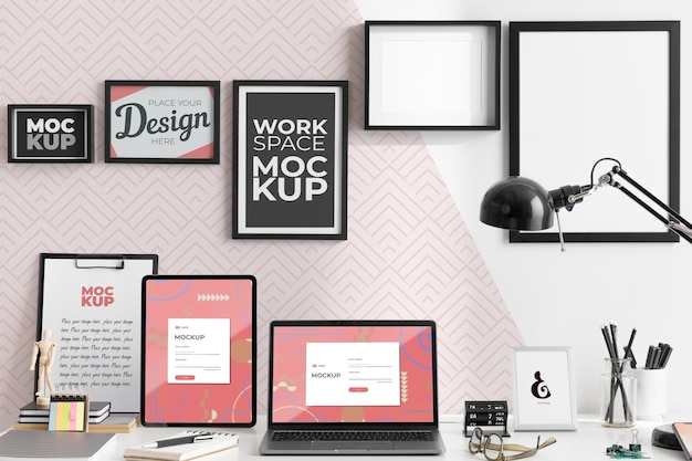 Work desk mockup with devices