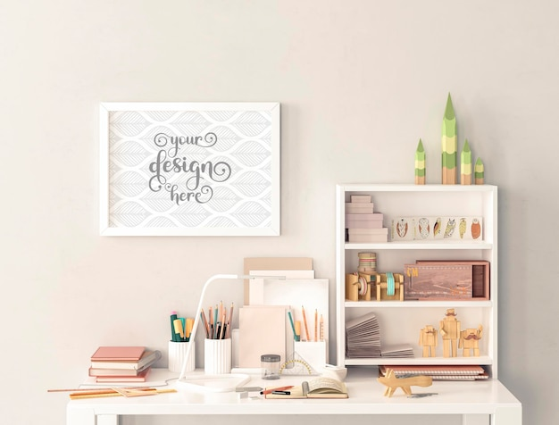 Work desk and small picture frame mockups