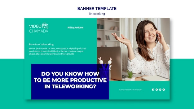 Work from home banner template