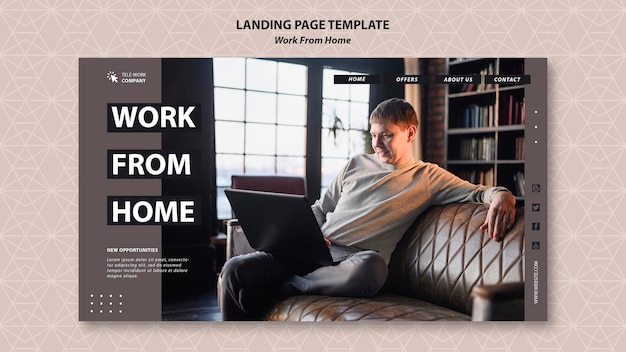 Work from home concept landing page template