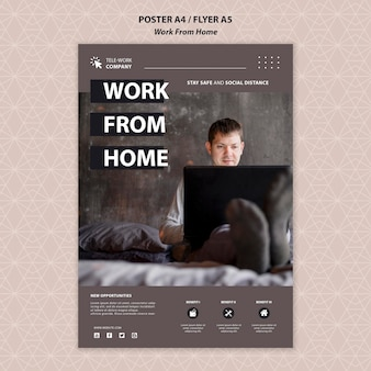 Work from home concept poster template