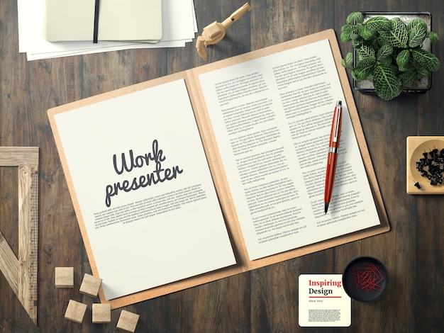 Work presenter with notes mock up Free Psd