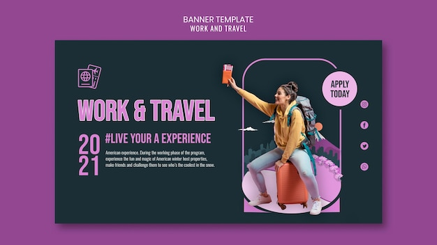 Work and travel banner template