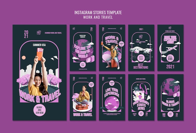 Modello di storie di instagram di lavoro e di viaggio