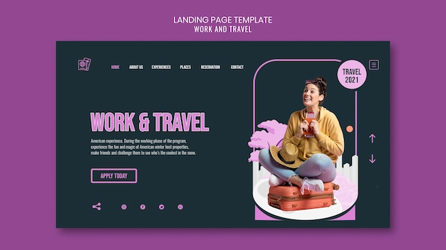 Work and travel landing page template