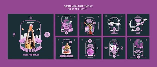 Lavora e viaggia modello di post sui social media