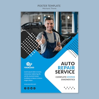 Worker being happy as mechanic poster template