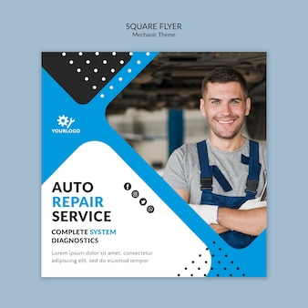 Worker being happy as mechanic square flyer