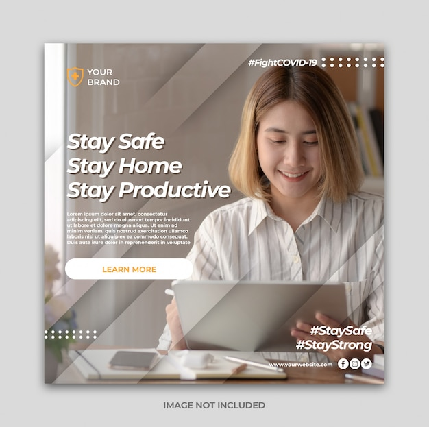 Working home for prevention social media post banner template or square poster