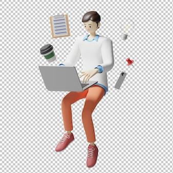Работа работа 3d иллюстрации дизайн рендеринг изолированный персонаж