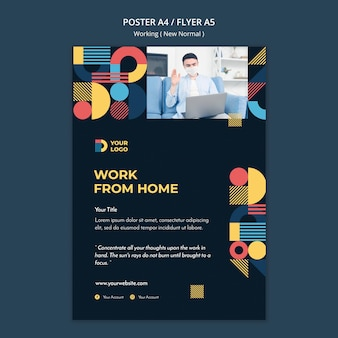 Working in the new normal way flyer template