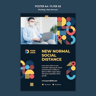 Working in the new normal way poster template