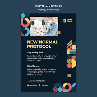 Working in the new normal way poster with photo Free Psd