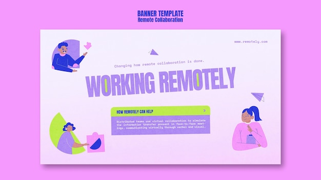 Working remotely banner template