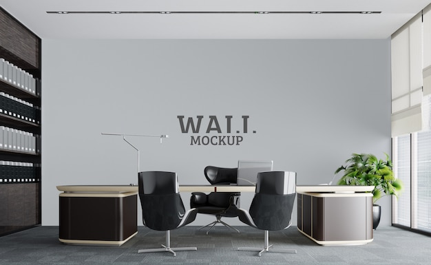 The working space is luxuriously modern.wall mockup