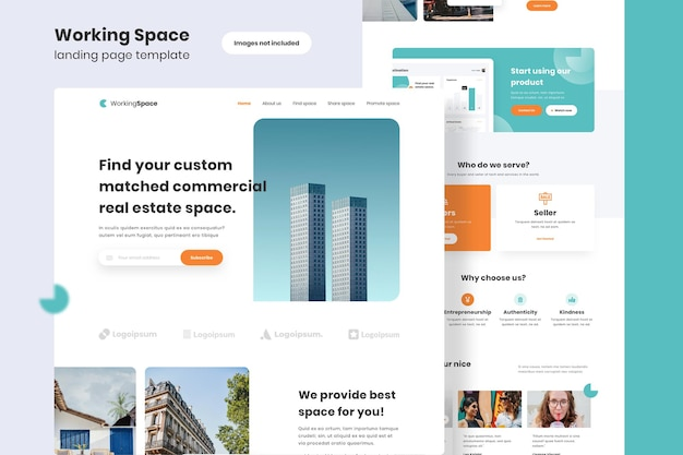 Working space landing page template