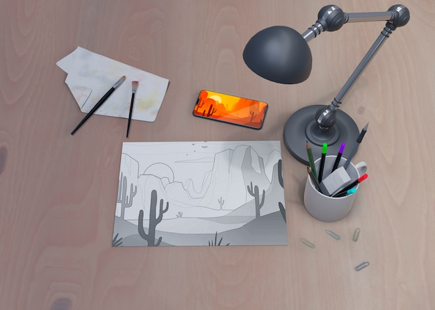 Working space with tools on it