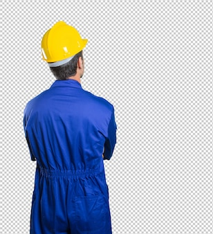 Workman back thinking on white background