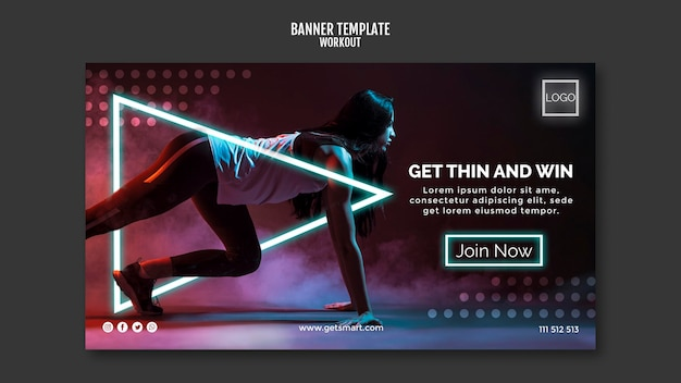 Workout concept banner template design